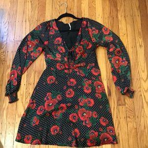 Free people floral smocked mini dress